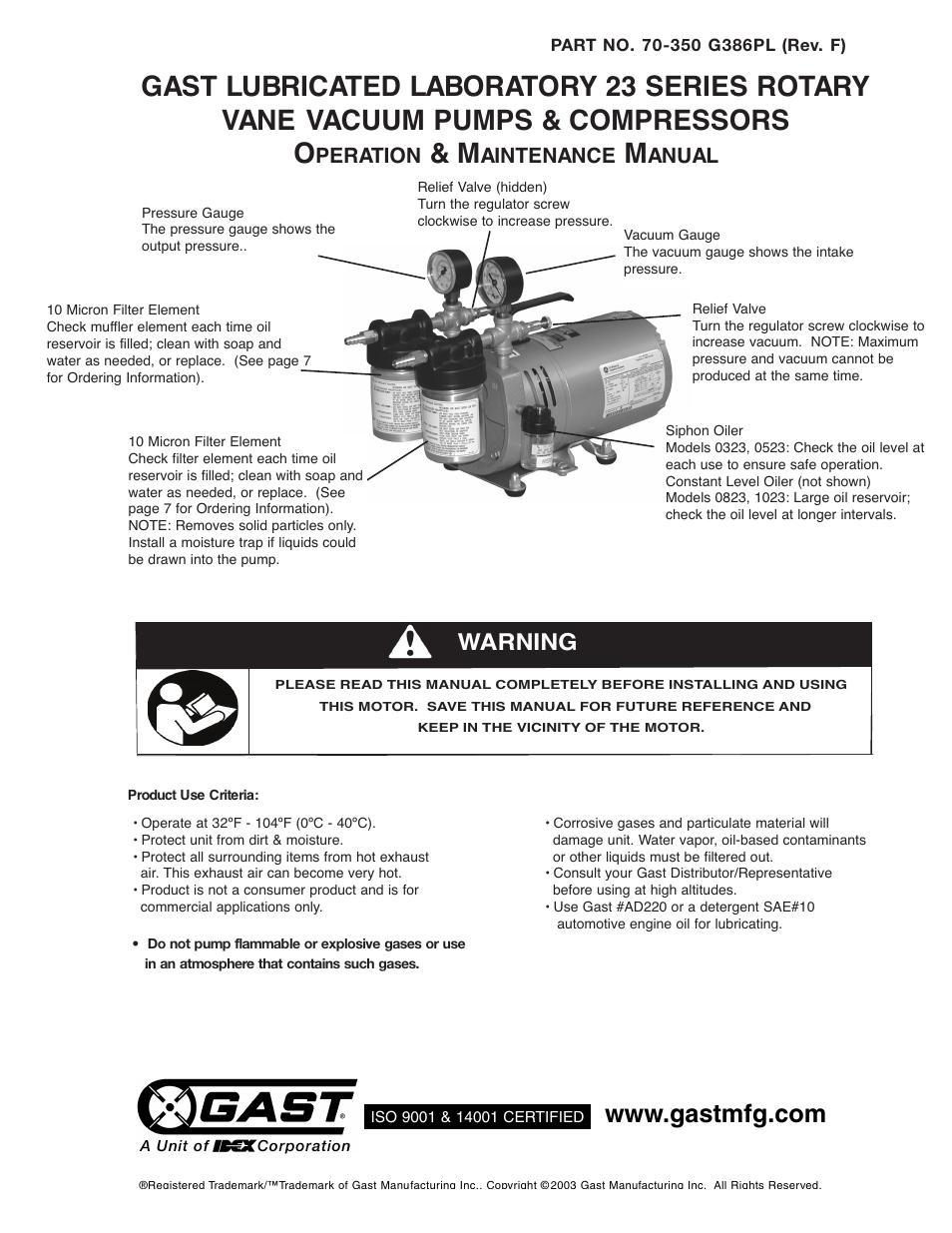 Gast 0523 Series Lubricated Laboratory Vacuum Pumps And