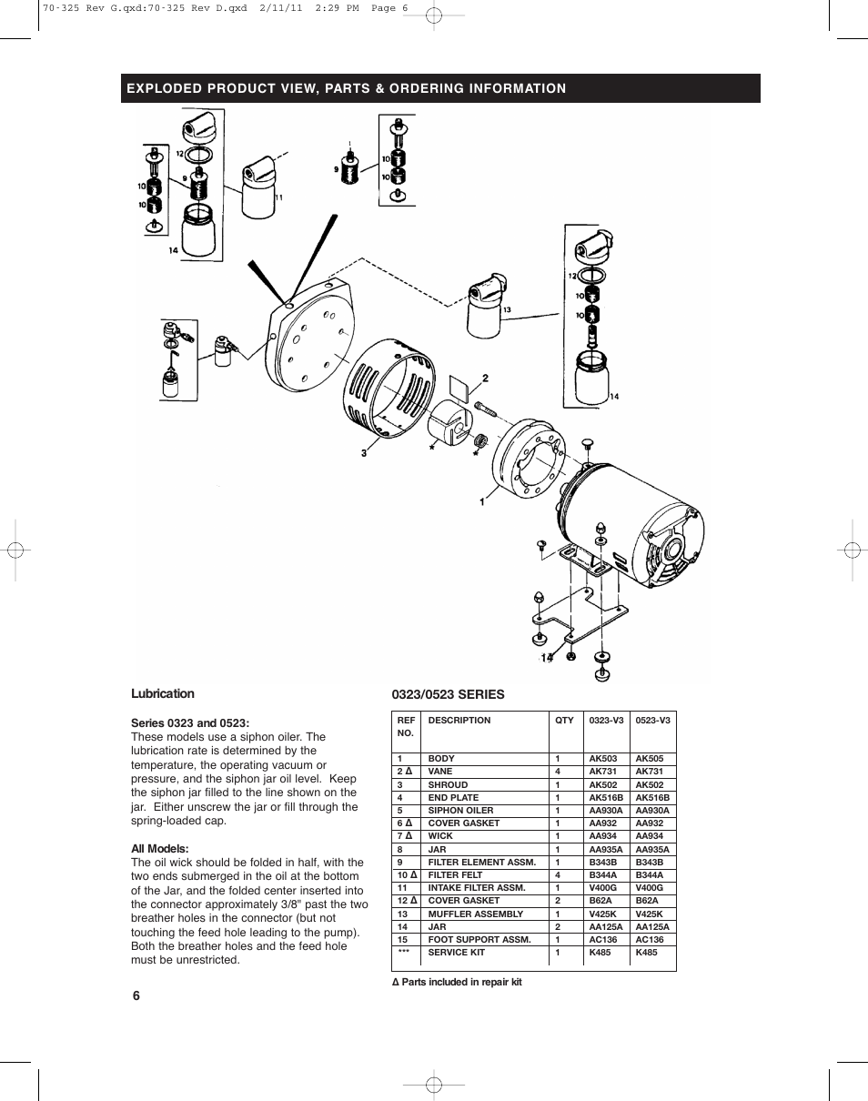 Gast Vacuum Specifications 0322 Pumps Wiring Diagram Lubrication Series Lubricated And Compressors User Manual Page 954x1210