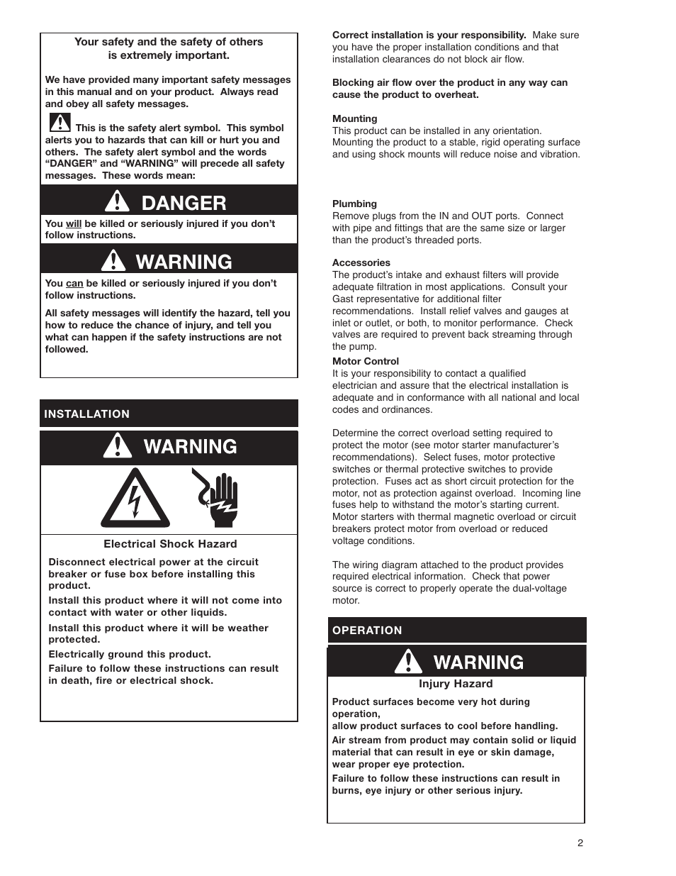 Warning danger   Gast 1423 Series Oilless Vacuum Pumps and Compressors User  Manual   Page 2 / 8