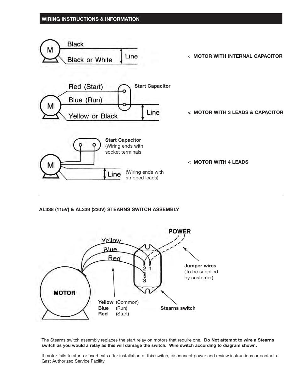 gast 1534 series oilless vacuum pumps and compressors page9 gast 1534 series oilless vacuum pumps and compressors user manual gast vacuum pump wiring diagrams at soozxer.org