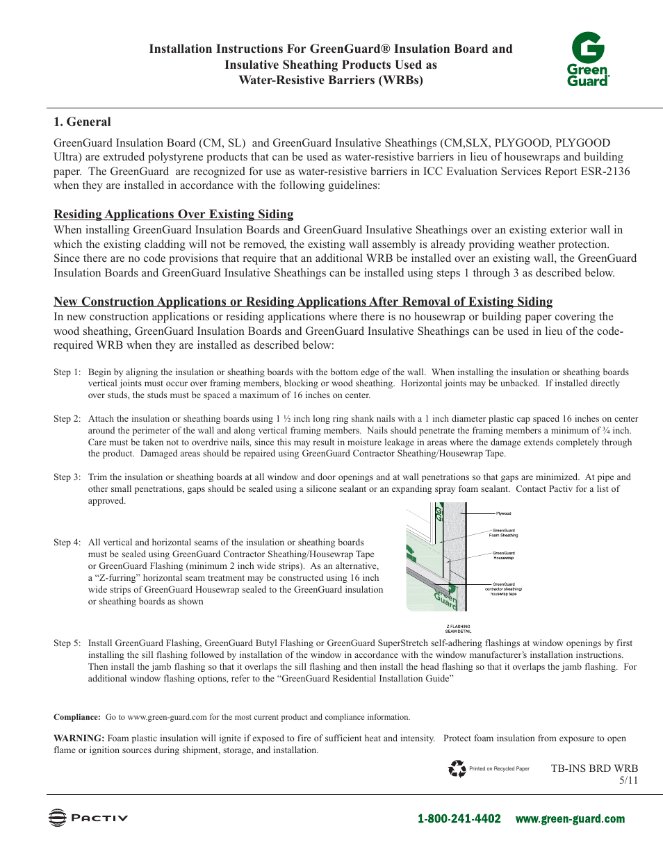 GreenGuard XPS Insulation Board as WRB User Manual | 1 page