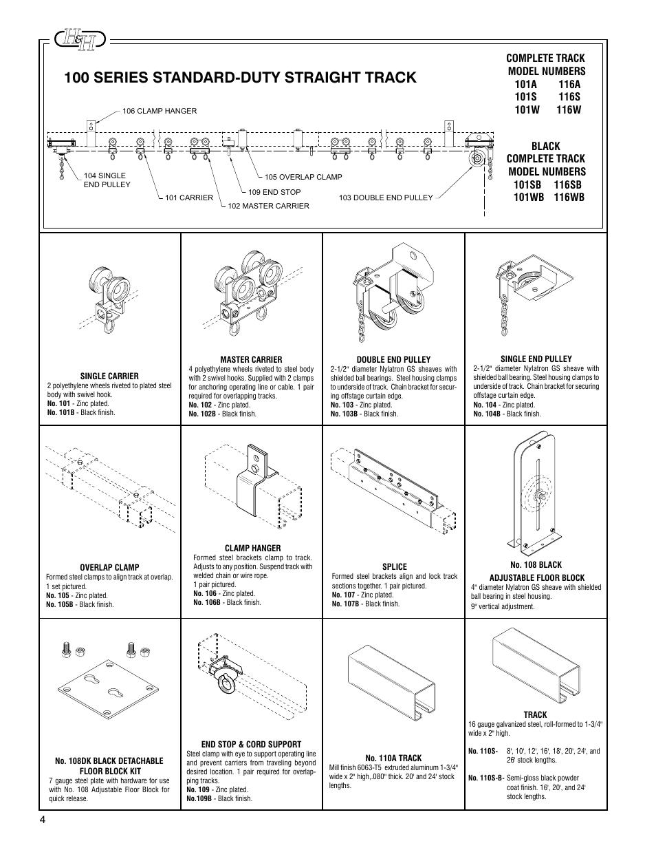 100 series standard-duty straight track   H&H Specialties 100 Series ...