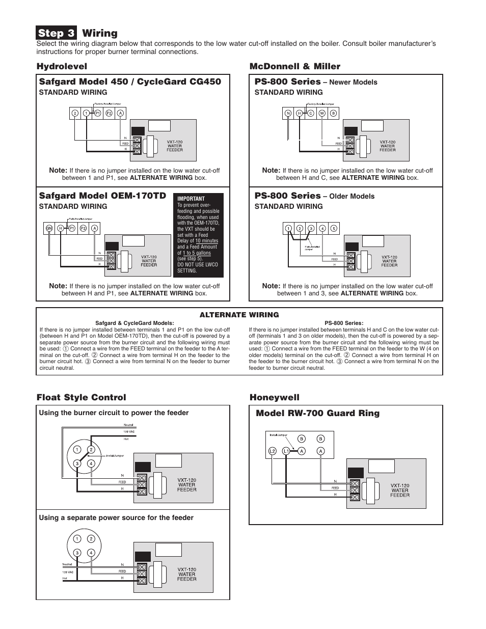 Step 3 wiring, Mcdonnell & miller, Ps-800 series | Hydrolevel VXT-120 V2  User Manual | Page 2 / 4