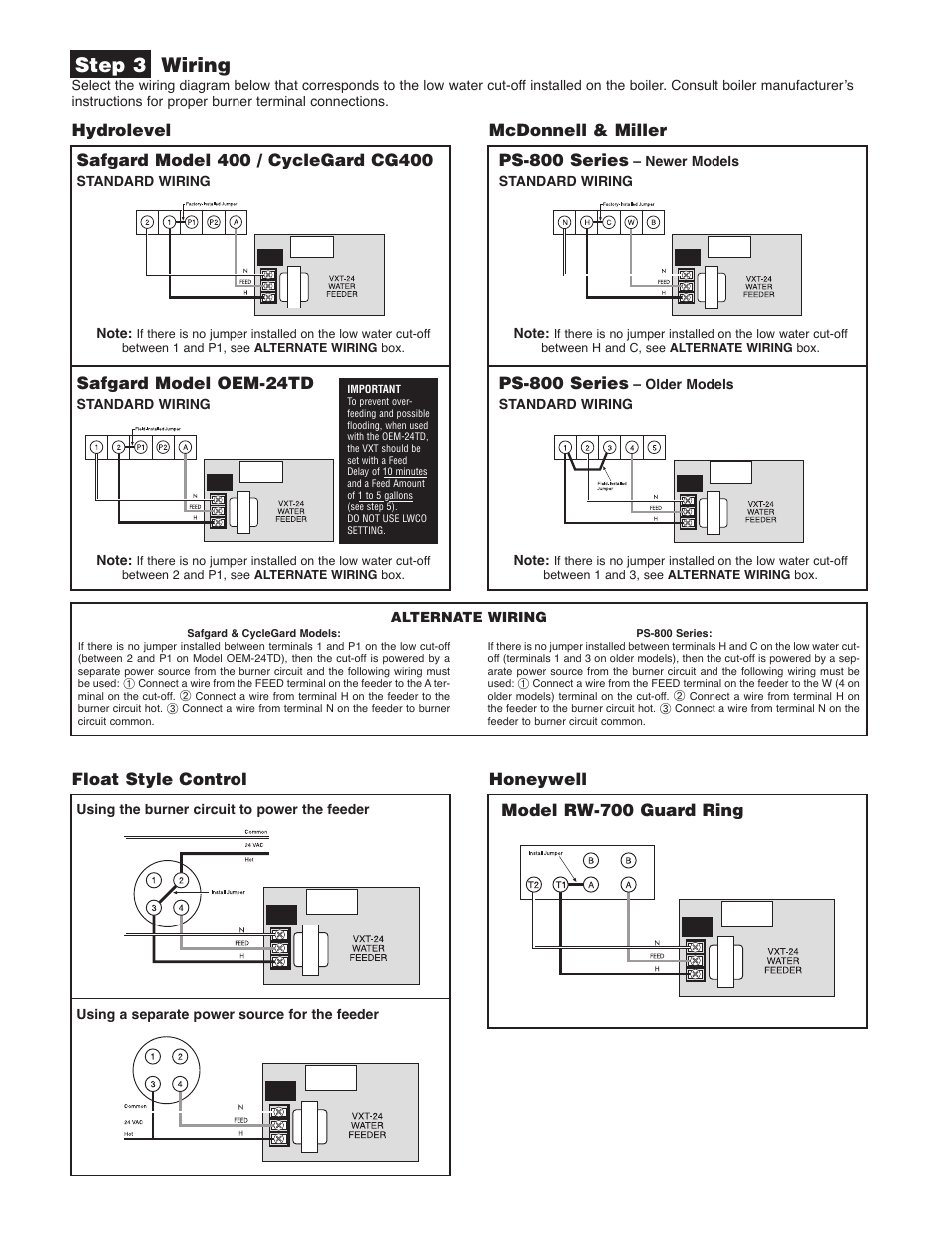 hydrolevel vxt 24 page2 step 3 wiring, mcdonnell & miller, ps 800 series hydrolevel vxt vxt 24 water feeder wiring diagram at n-0.co