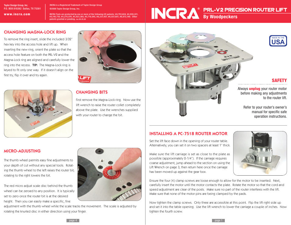 Incra prl v2 lift user manual 4 pages greentooth Image collections
