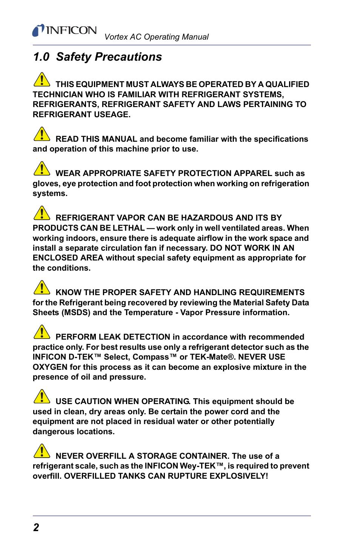 0 safety precautions, Safety precaut | INFICON Vortex AC