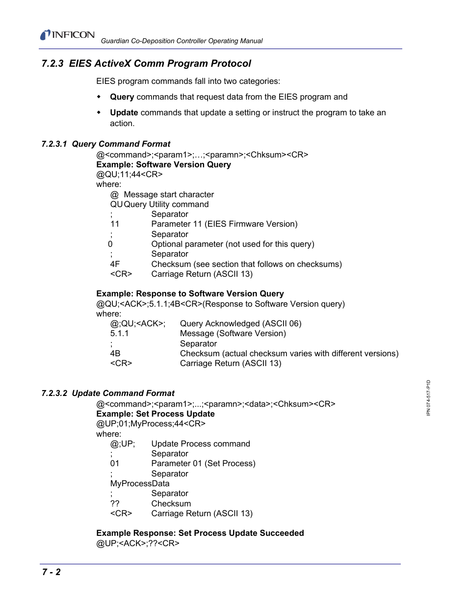 3 eies activex comm program protocol, 1 query command format, 2