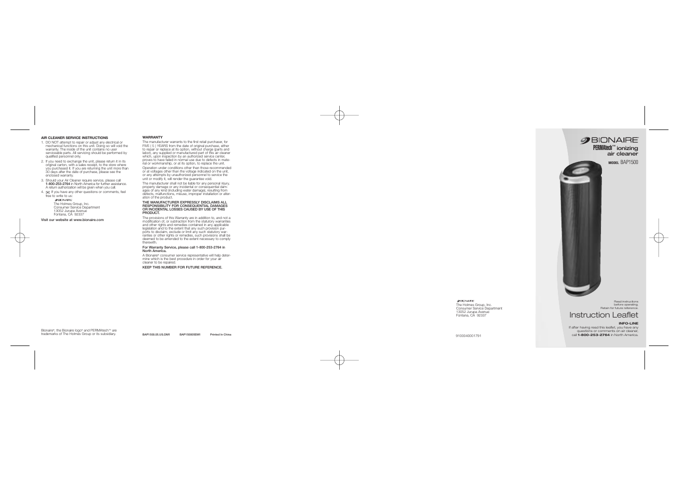 BIONAIRE BAP1500 User Manual | 2 pages