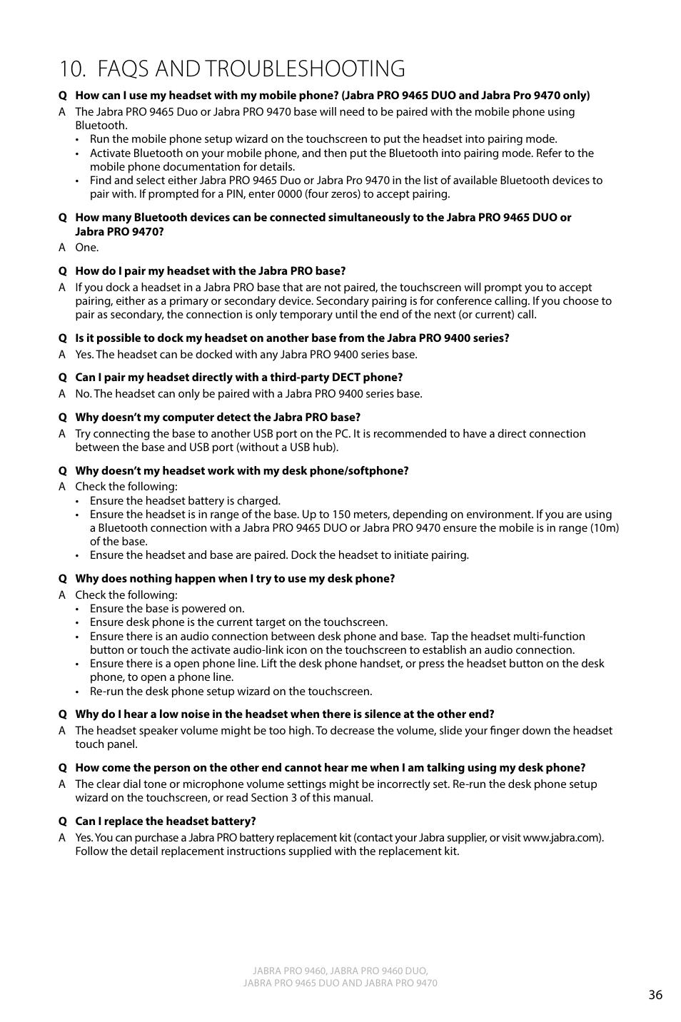 79baf06e9e9 Faqs and troubleshooting, English | Jabra PRO 9470 User Manual User Manual  | Page 35 / 41