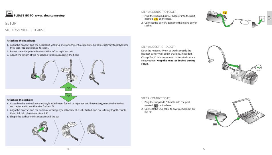 Setup | Jabra PRO 9450 Duo Quick Start Guide User Manual