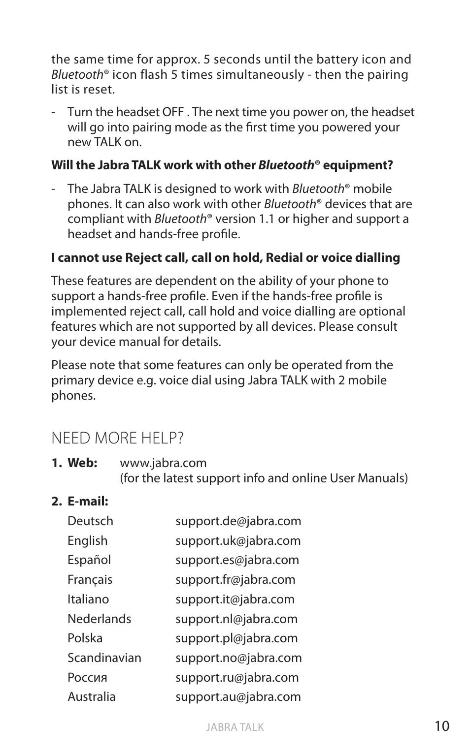 English Need More Help Jabra Talk User Manual Page 11 14