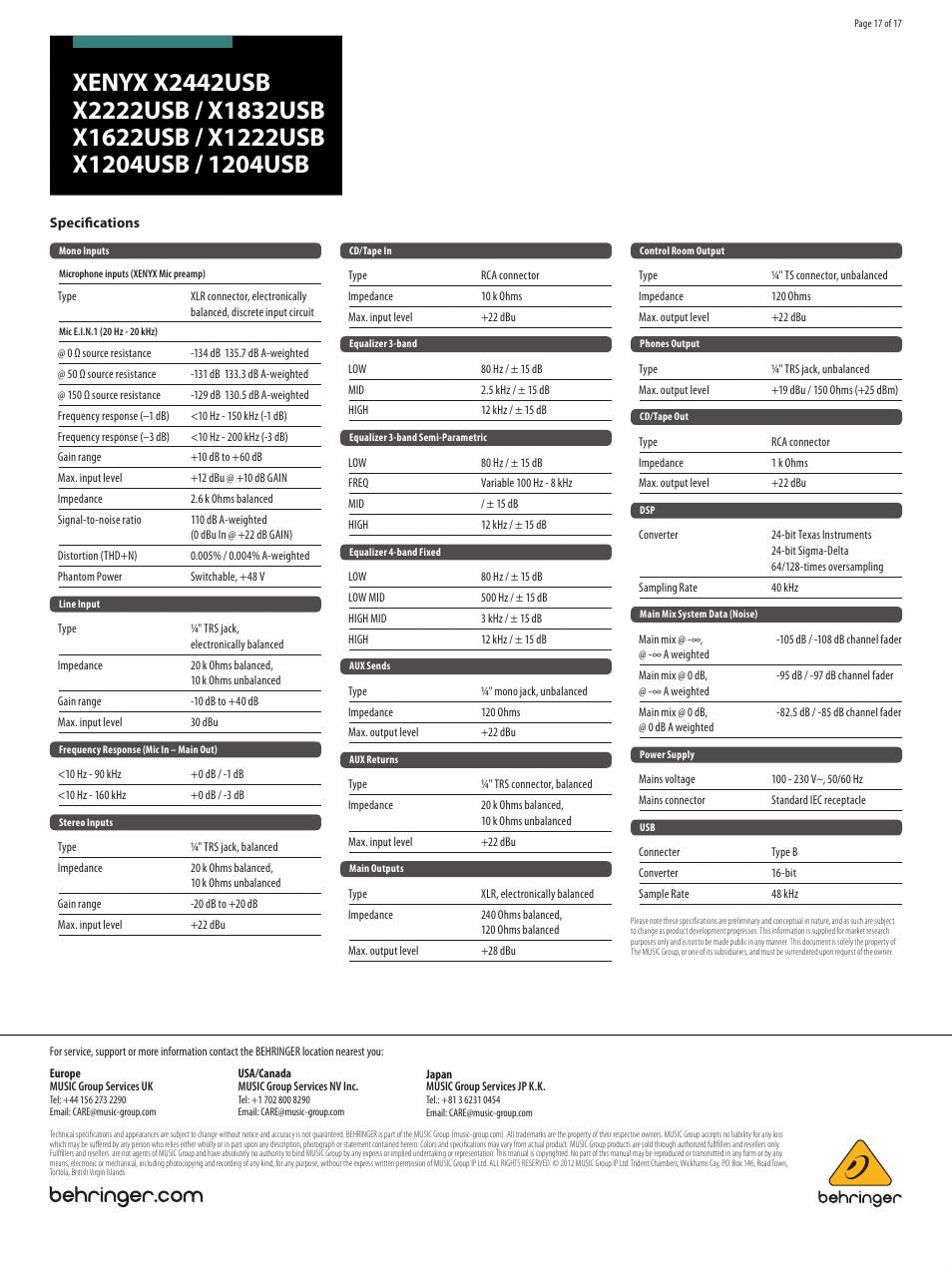 Behringer Xenyx 1204usb User Manual