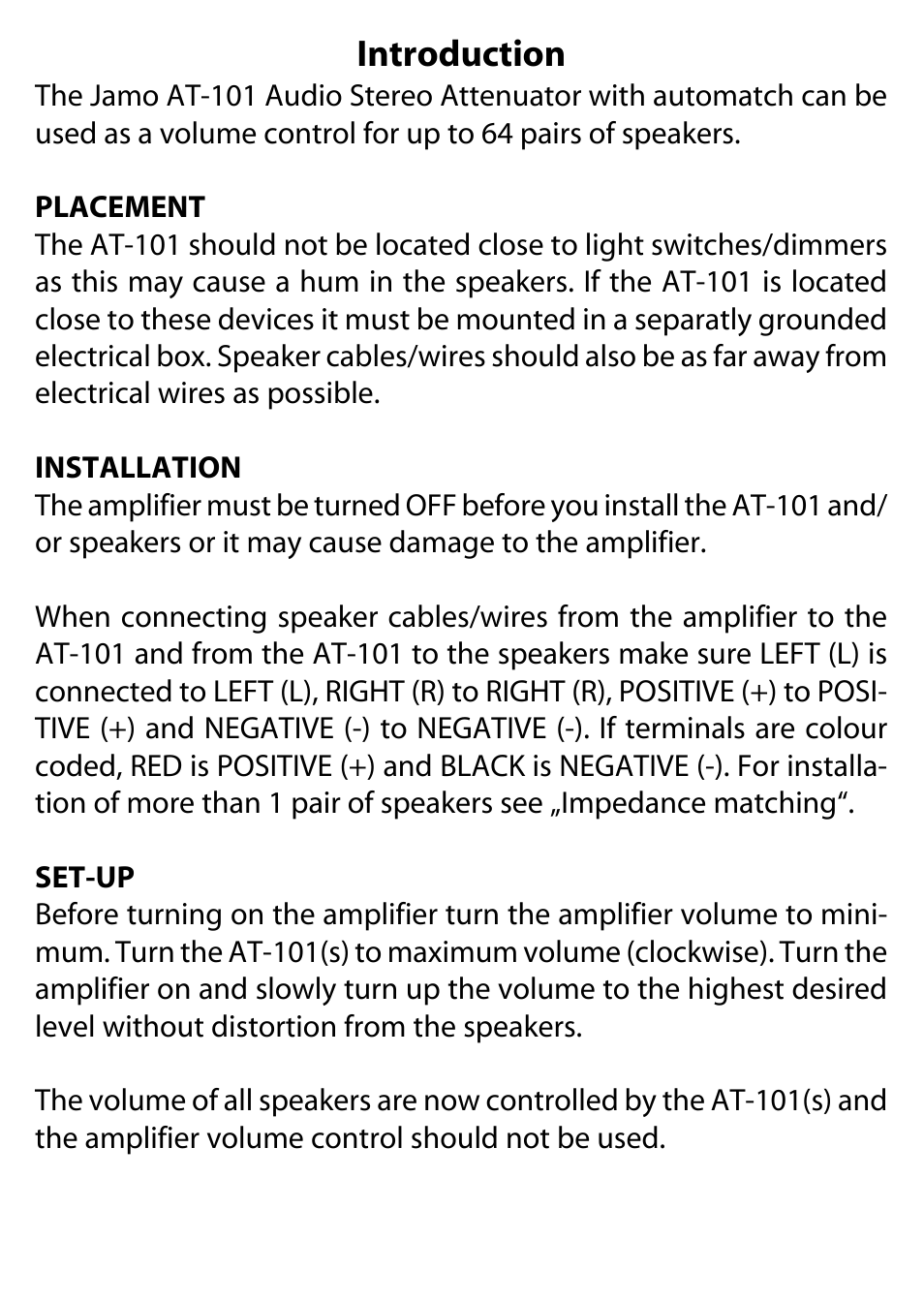 Introduction Jamo At 101 User Manual Page 2 4 Dimmer Switches Electrical