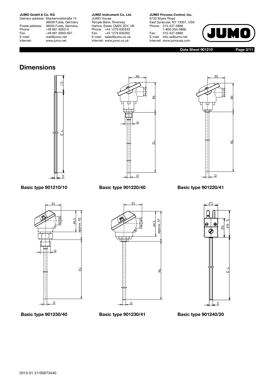 Dimensions Jumo 901210 Mineral Insulated Thermocouple With Bare Wire Diagram Connection Wires According To Din 43710 And En 60584 Data Sheet User Manual Page 3