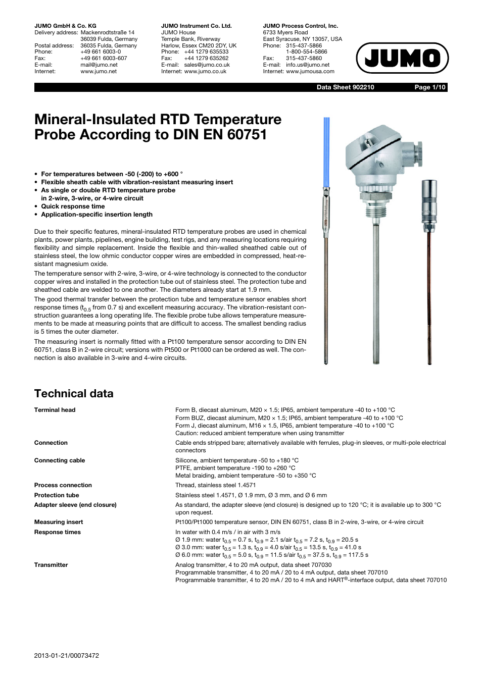 JUMO 902210 Mineral-Insulated RTD Temperature Probes with Bare ...