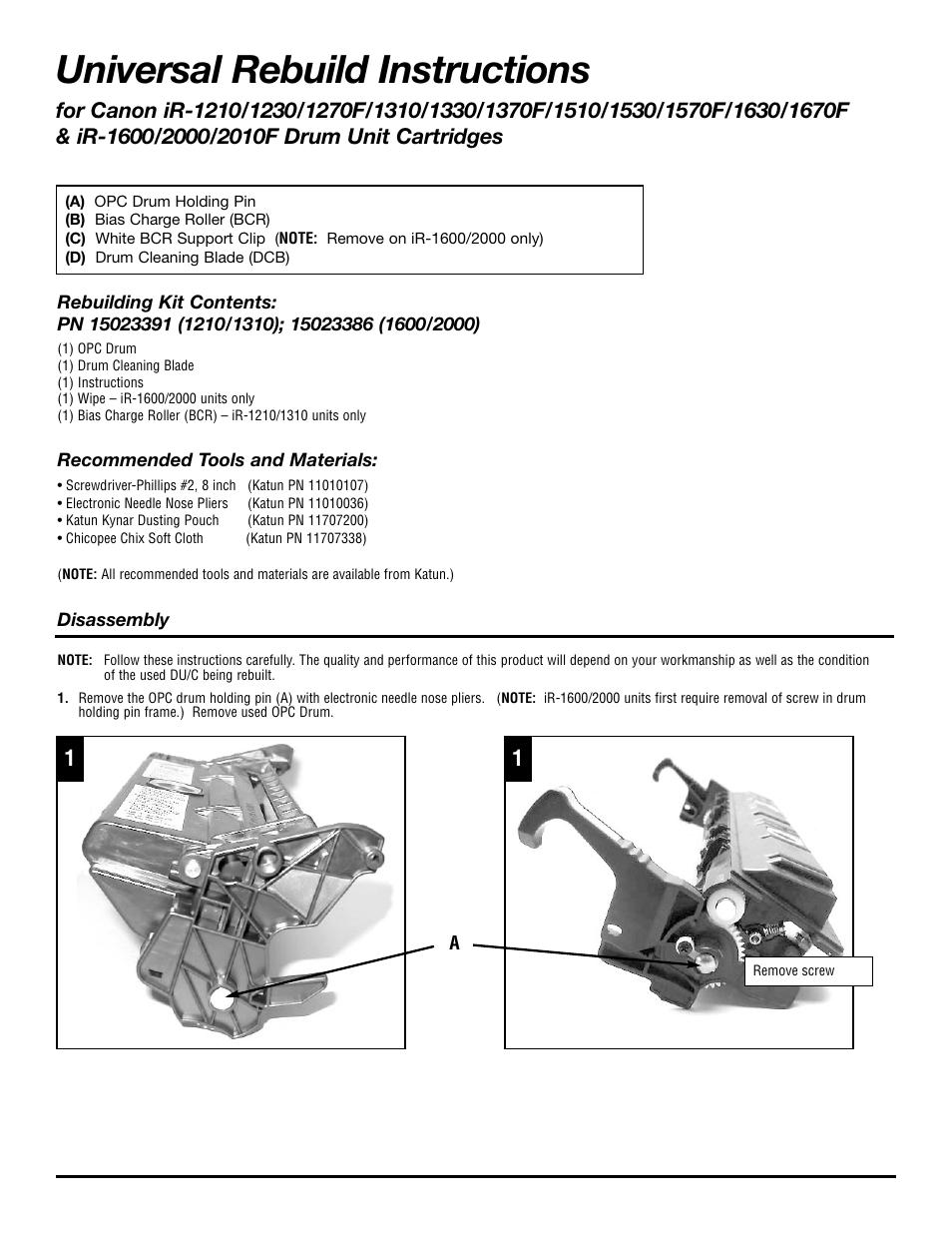 universal rebuild instructions katun canon ir 2000 drum unit rh manualsdir com canon ir 1600 service manual pdf canon ir 1600 manual