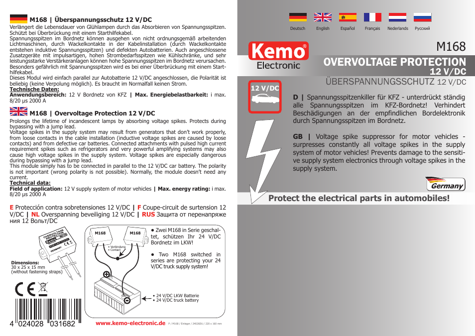 Kemo Electronic M168 User Manual | 2 pages