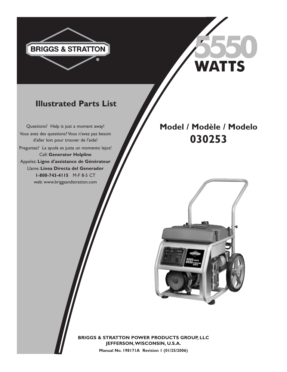 Briggs Stratton 30253 User Manual 5 Pages And Engine Diagram Parts List For