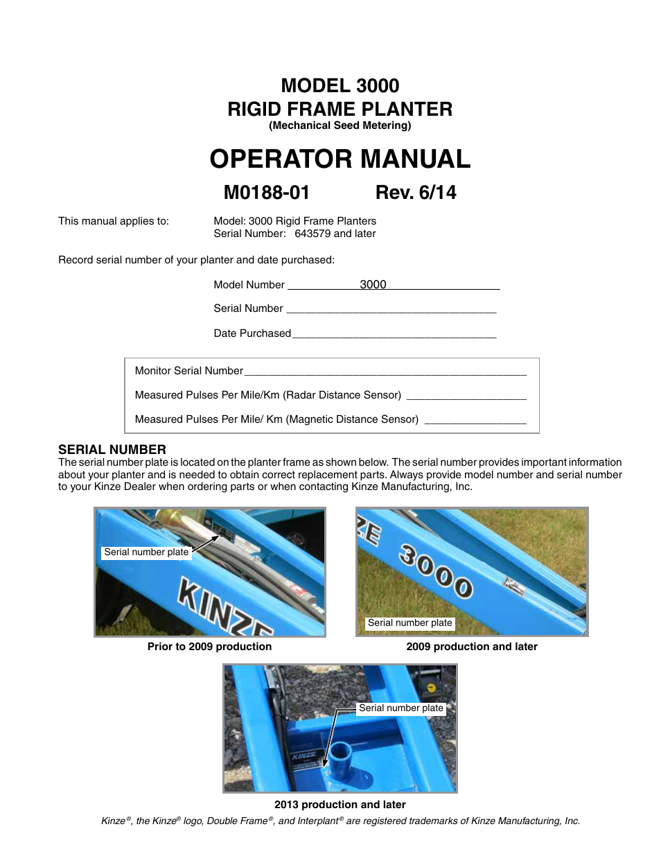 Kinze 3000 Rigid Frame Planter Rev 6 14 User Manual 168 Pages