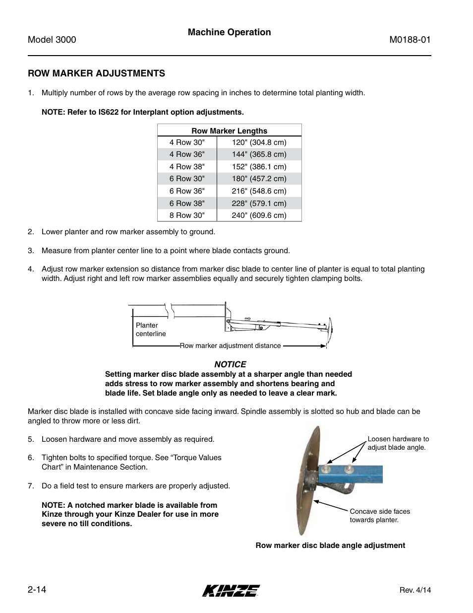 Row marker adjustments, Row marker adjustments -14 | Kinze 3000 ...
