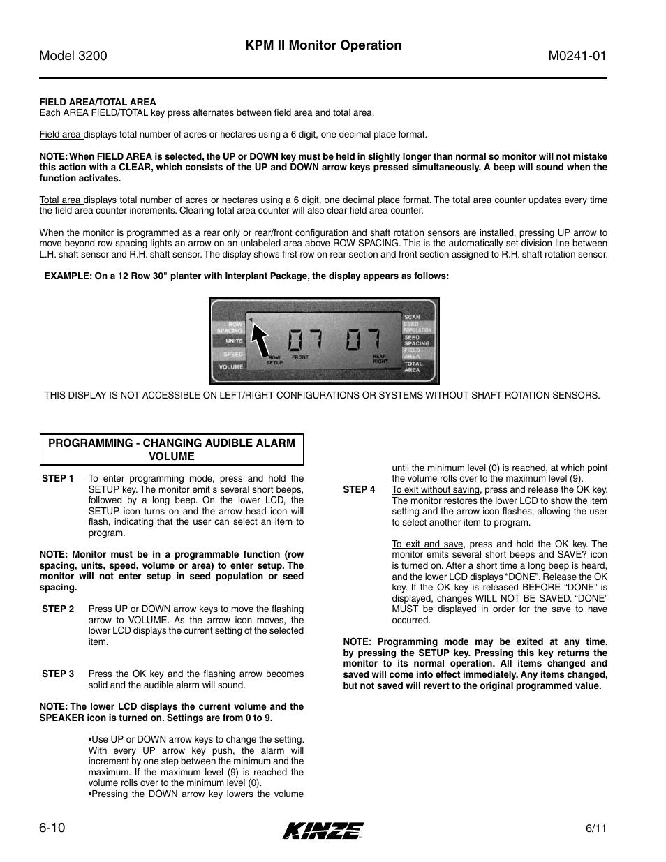 Programming - changing audible alarm volume -10, Kpm ii monitor operation |  Kinze 3200