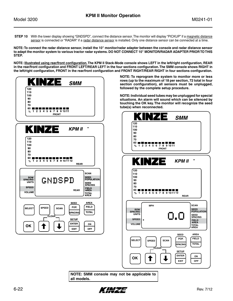 Kpm ii monitor operation, Kpm ii, Rev. 7/12 | Kinze 3200