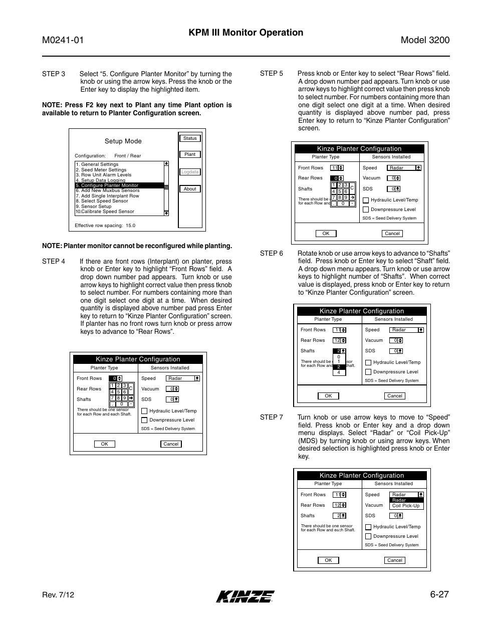 27 kpm iii monitor operation, Rev. 7/12 | Kinze 3200 Wing-