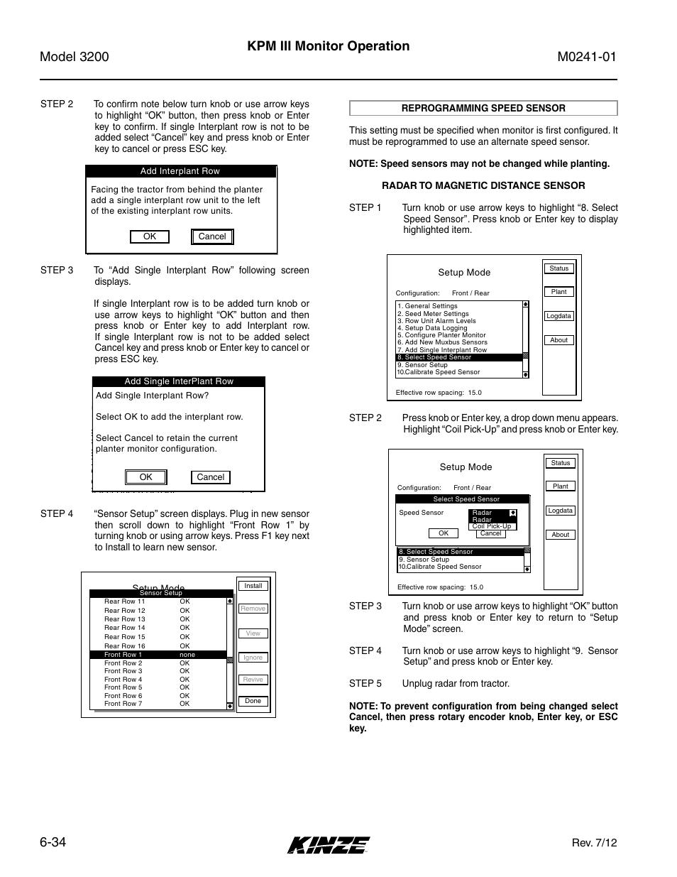 Reprogramming speed sensor -34, Kpm iii monitor operation, Setup mode |  Kinze 3200