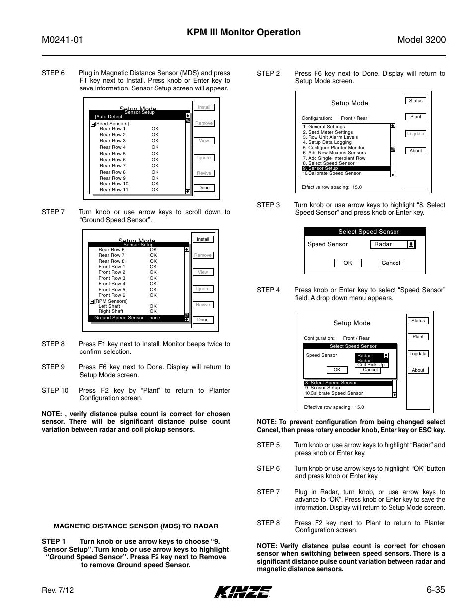 35 kpm iii monitor operation, Setup mode, Rev. 7/12 | Kinze