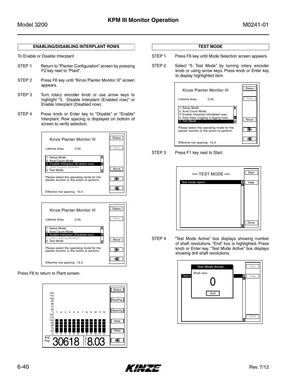 Enabling/disabling interplant rows -40, Test mode -40, Kpm iii monitor