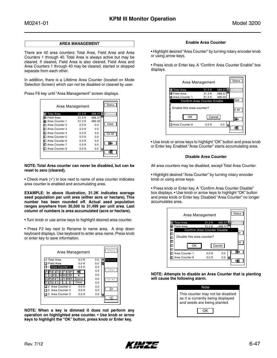 Area management -47, 47 kpm iii monitor operation, Rev. 7/12
