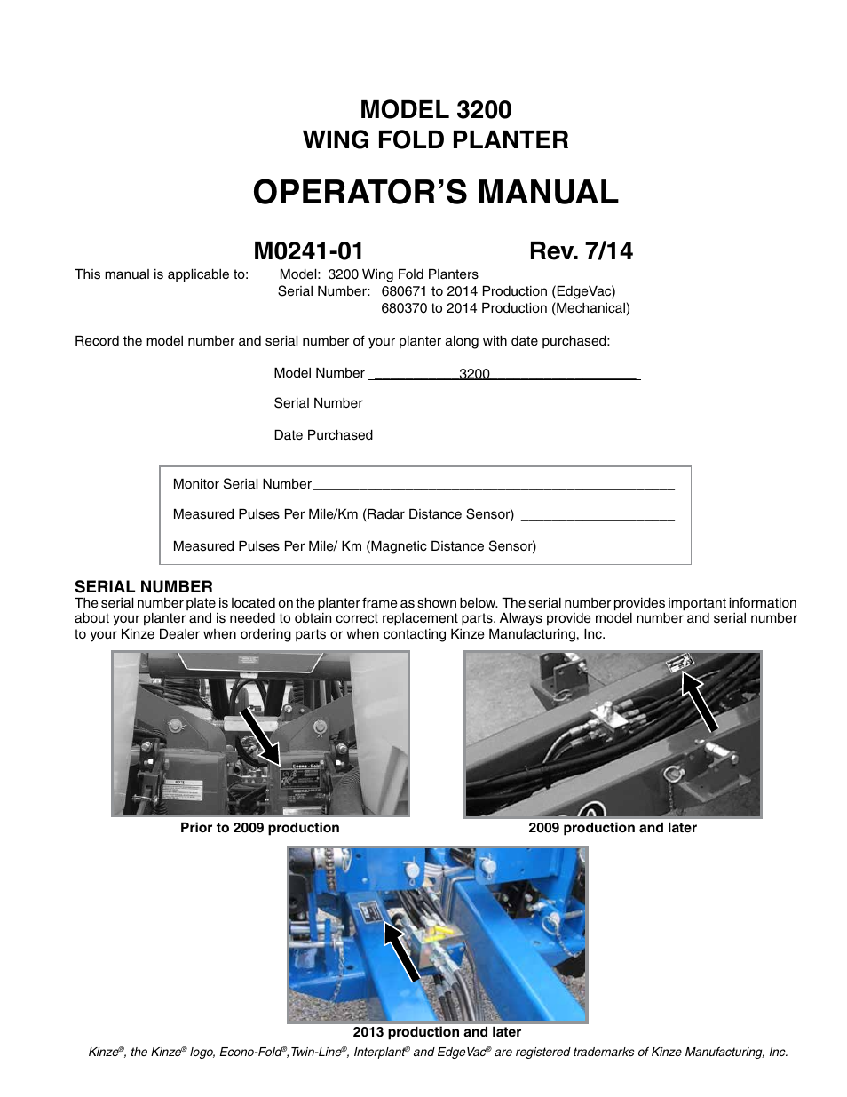 Operator S Manual Model 3200 Wing Fold Planter Kinze 3200 Wing
