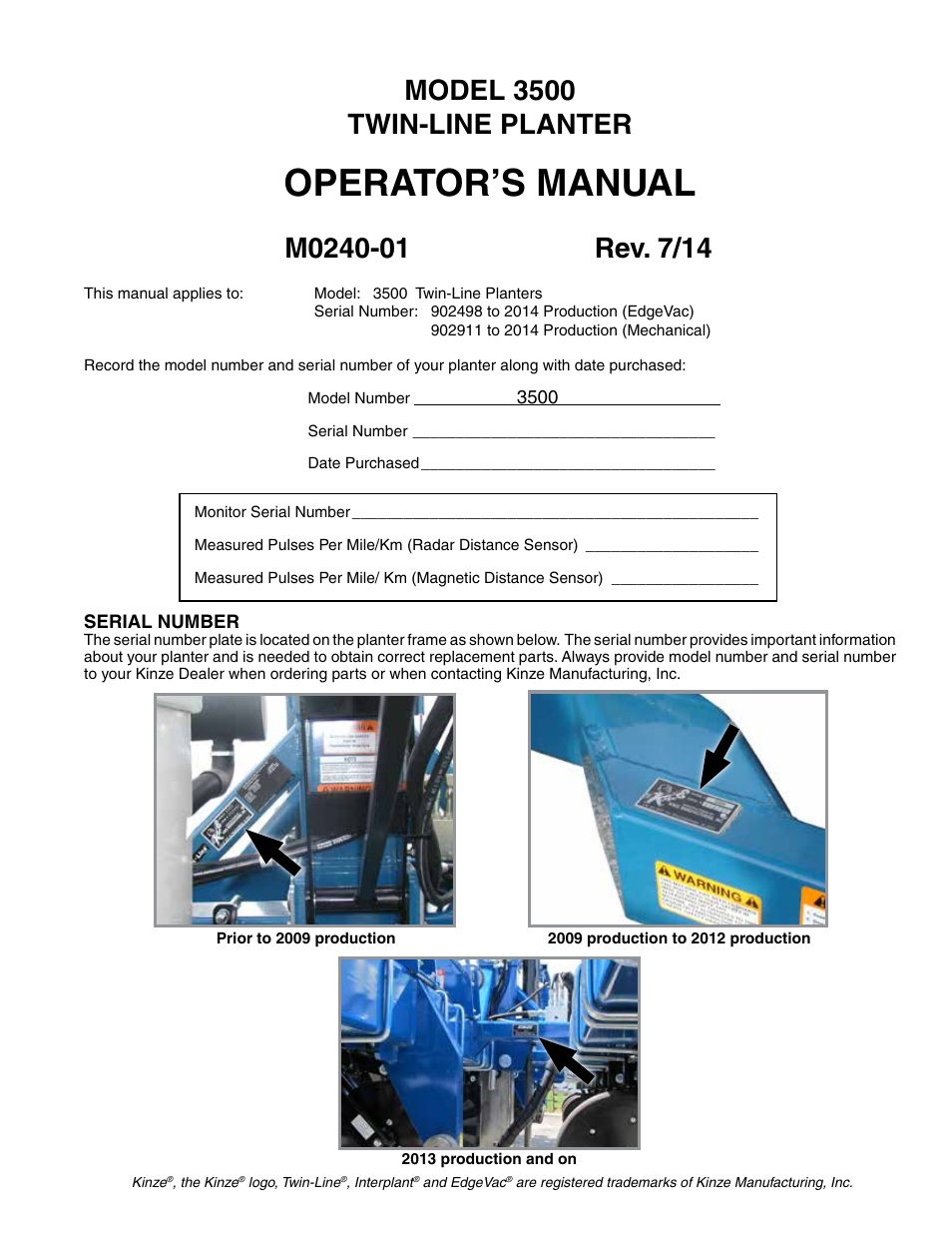 Kinze 3500 Lift And Rotate Planter Rev 7 14 User Manual 140 Pages