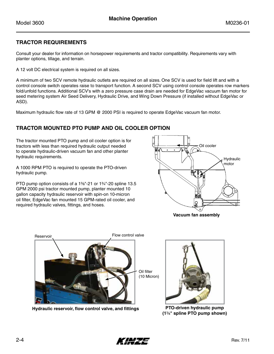 Tractor Requirements Tractor Mounted Pto Pump And Oil Cooler Option