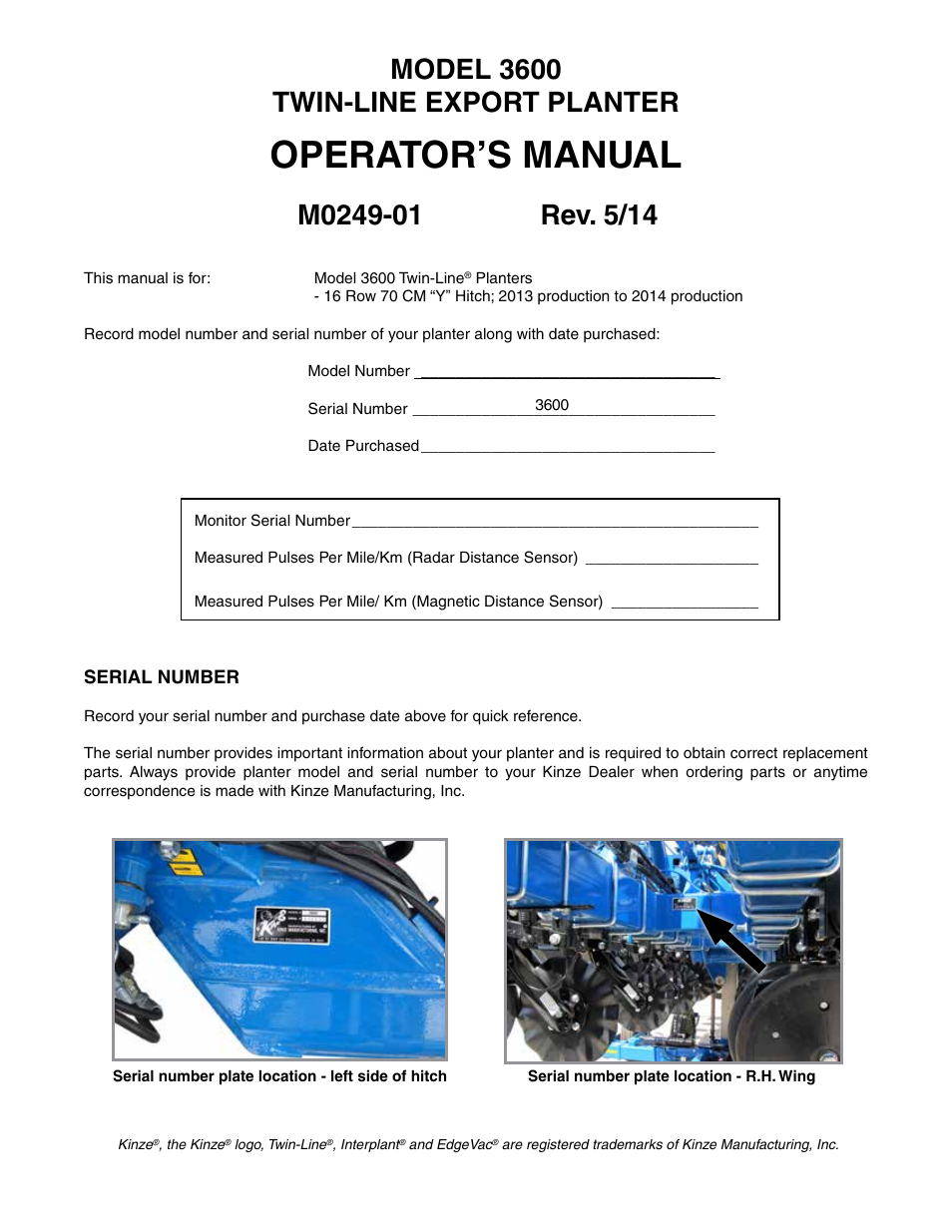 Kinze 3600 Lift And Rotate Planter 70 Cm Rev 5 14 User Manual