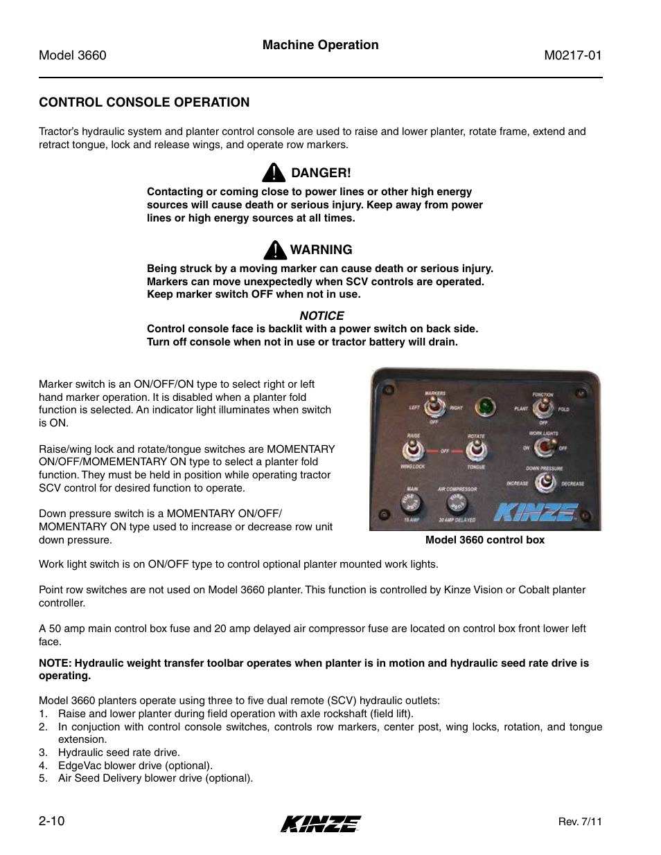 Control Console Operation 10 Kinze Increasing Amps Fuse Box 3660 Lift And Rotate Planter Rev 7 14 User Manual Page 22 150