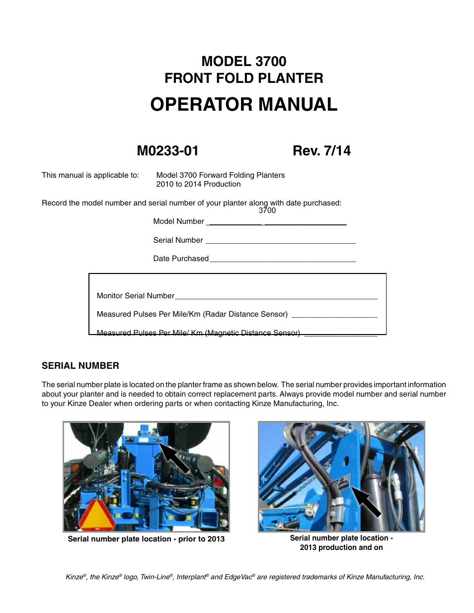 Kinze 3700 Front Folding Planter Rev 7 14 User Manual 172 Pages