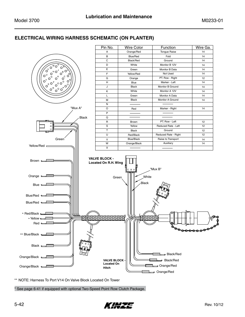 Electrical Wiring Harness Schematic  On Planter   Rev  10