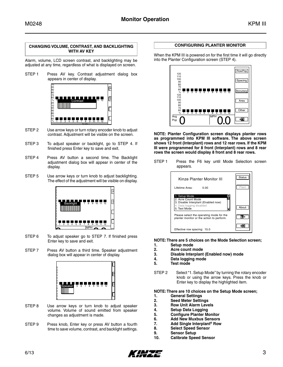 Configuring planter monitor, Kpm iii m0248, 3monitor operation | Kinze KPM  III User Manual