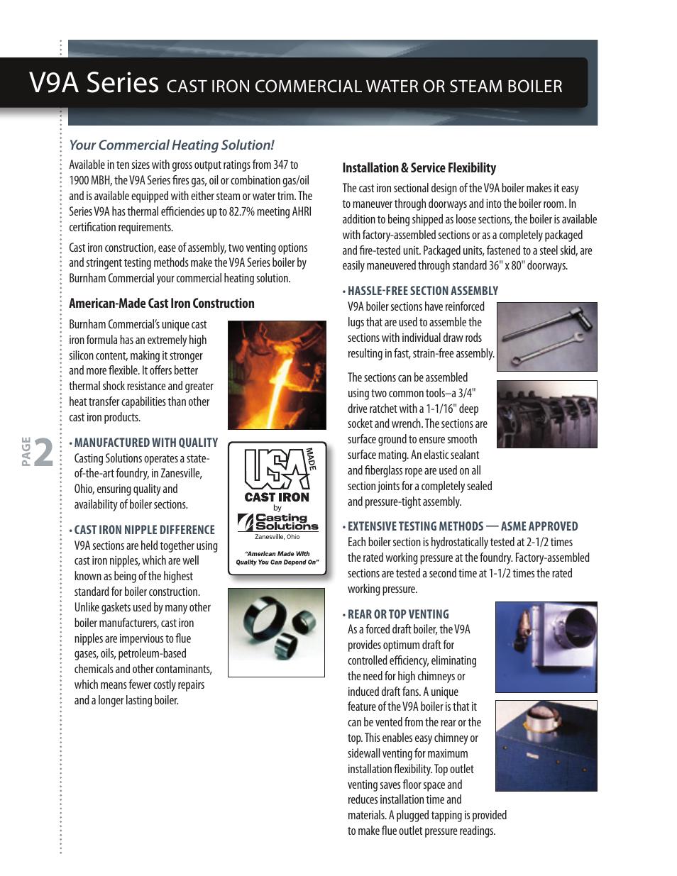 V9a series, Cast iron commercial water or steam boiler   Burnham V9 ...