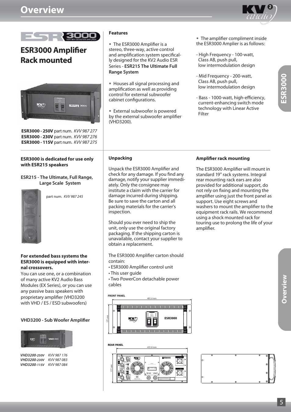 Overview, Esr3000 amplifier rack mounted, Esr3000 | KV2