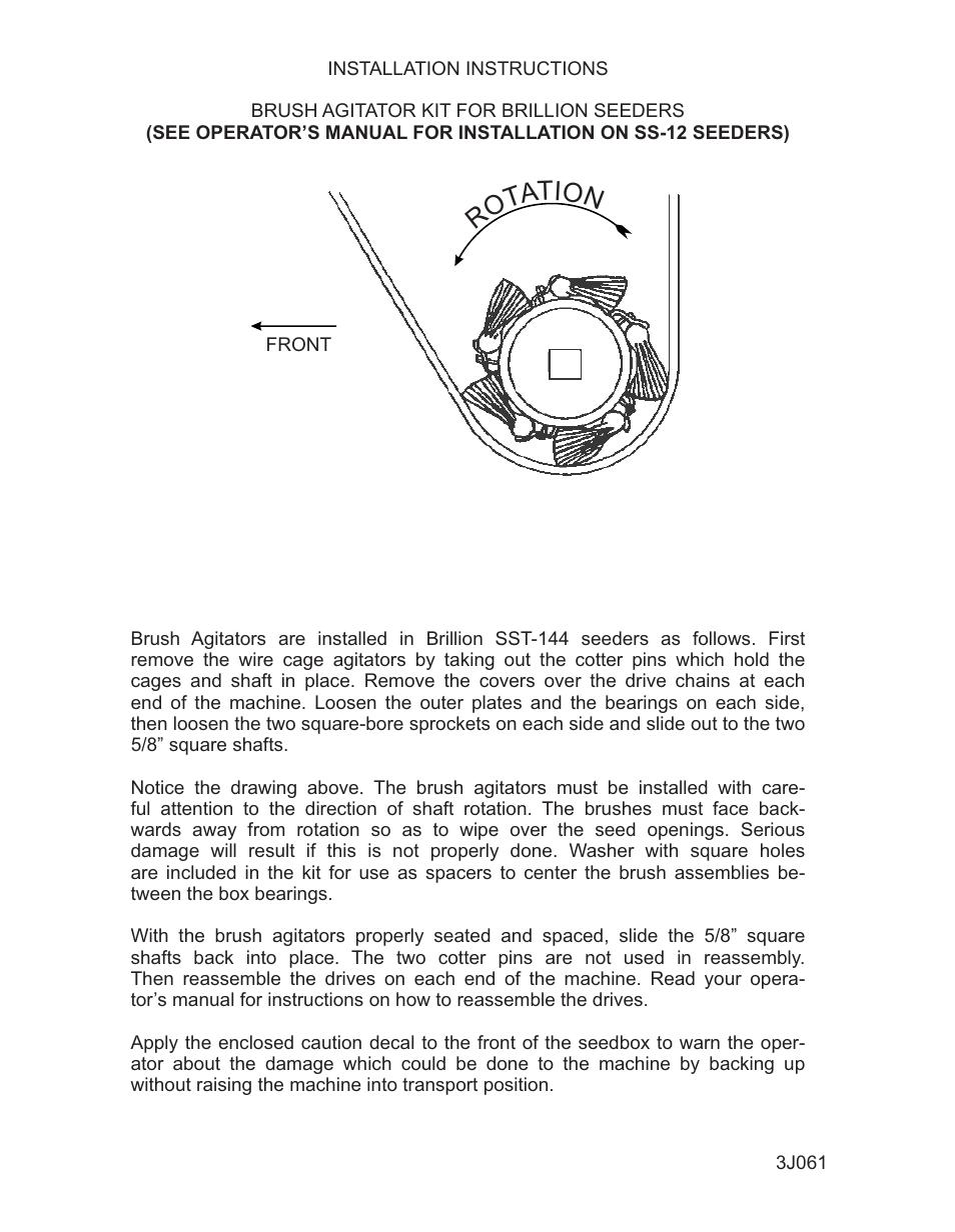 Landoll 3J061 BRUSH AGITATOR KIT FOR BRILLION SEEDERS Installation User  Manual | 2 pages