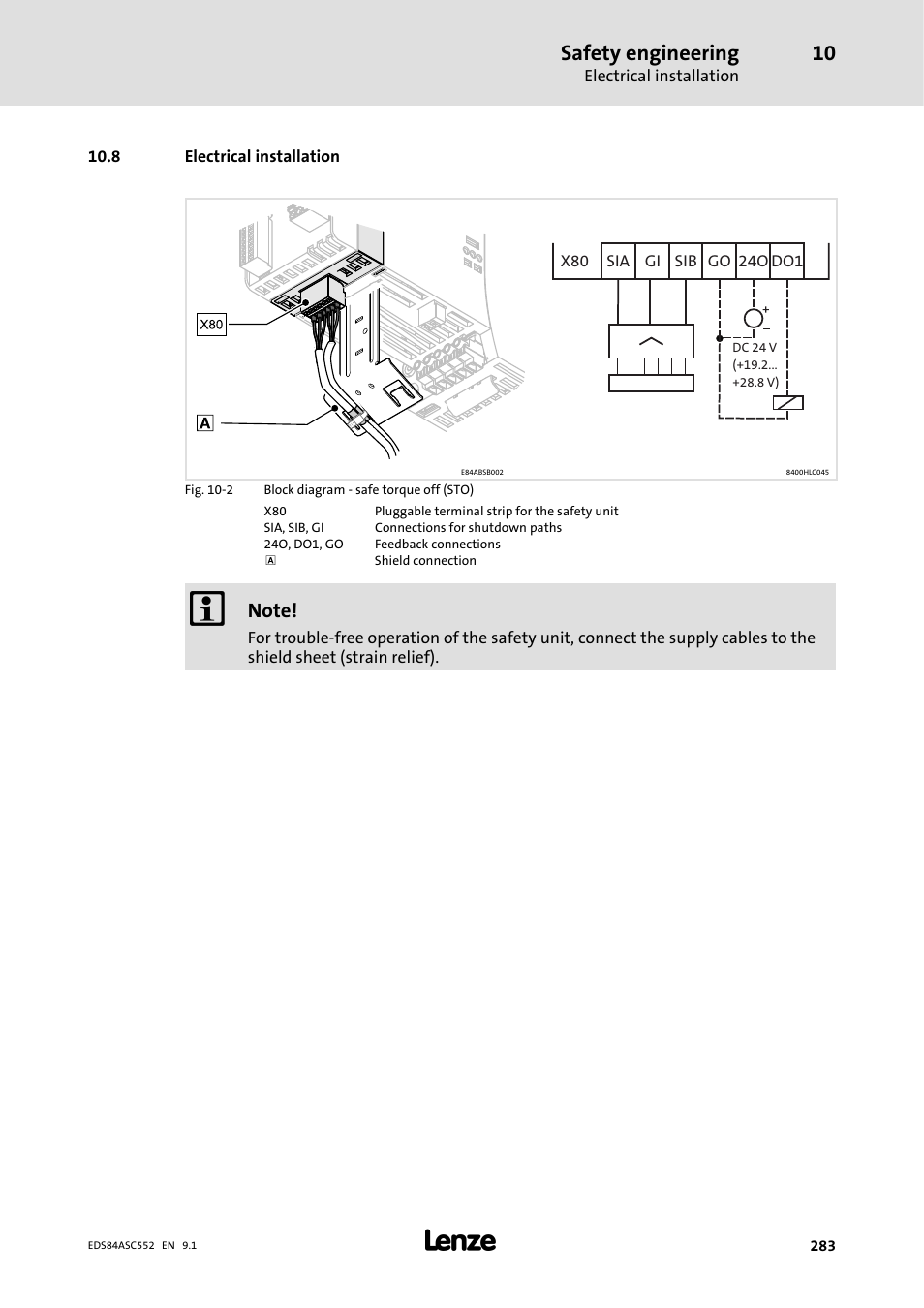 Lenze Wiring Diagram Vfd Library8 Electrical Installation Safety Engineering 8400 User Manual Page 283