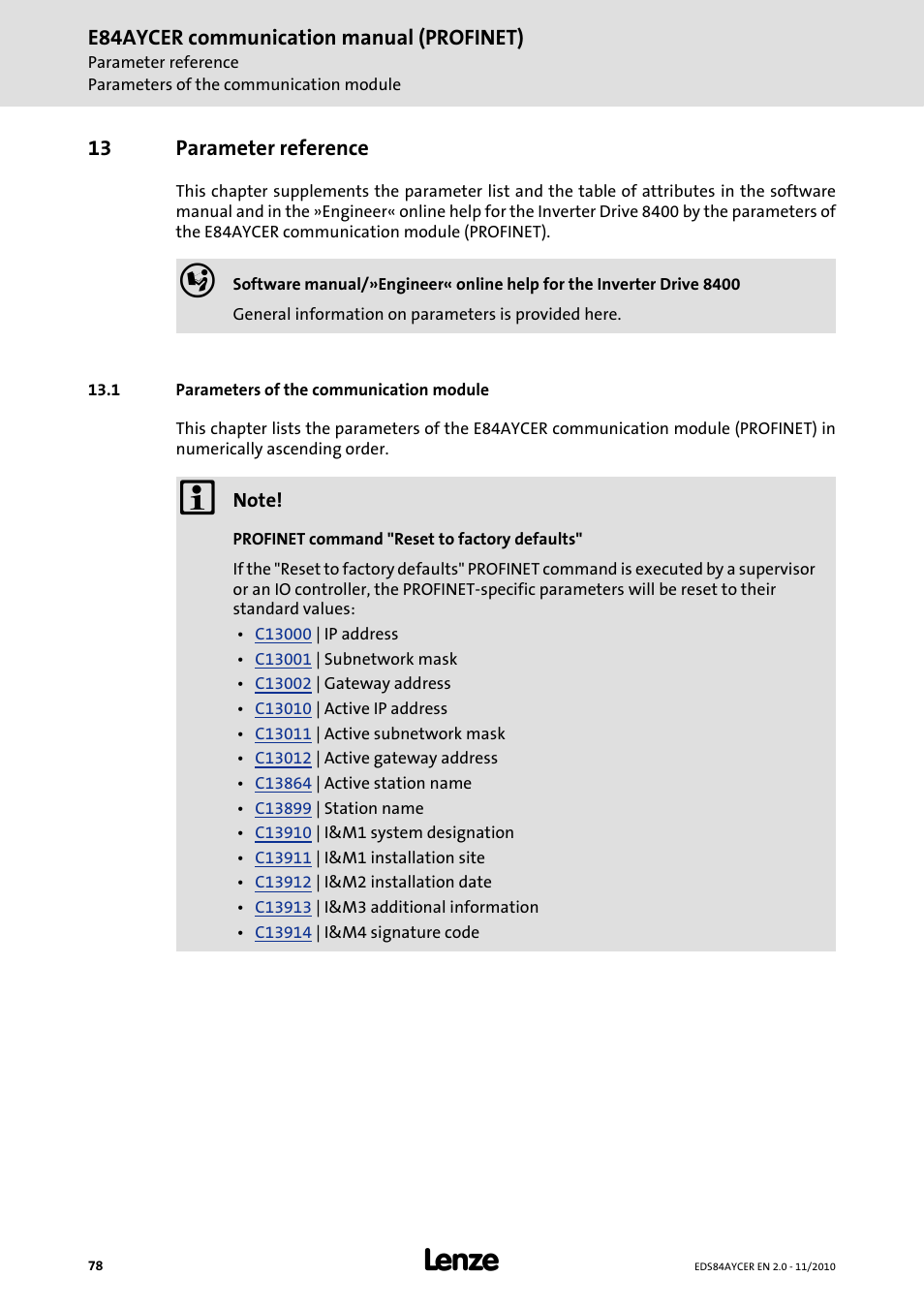 13 parameter reference, 1 parameters of the communication module, Parameter  reference | Lenze E84AYCER User Manual | Page 78 / 94