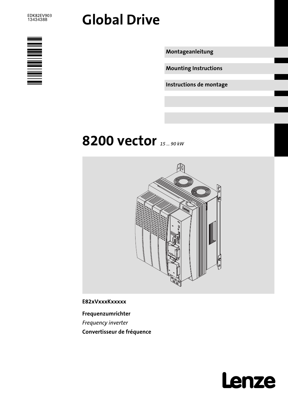Lenze e82ev 8200 vector 15kw 90kw user manual 288 pages for Vector canape user manual