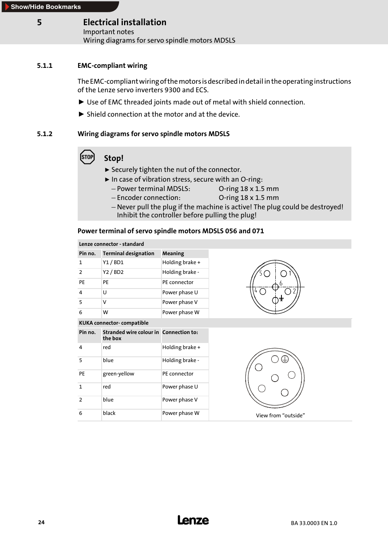 1 emc-compliant wiring, 2 wiring diagrams for servo spindlemotors mdsls,  Emc-compliant wiring | Lenze MDSLS Servo spindle motor User Manual | Page  24 / 40
