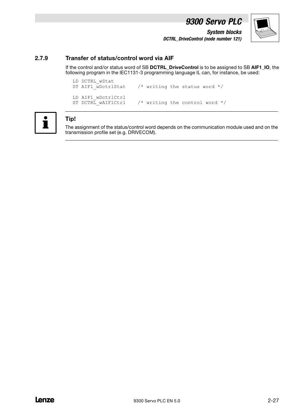 Transfer of status/control word via aif, 9300 servo plc | Lenze