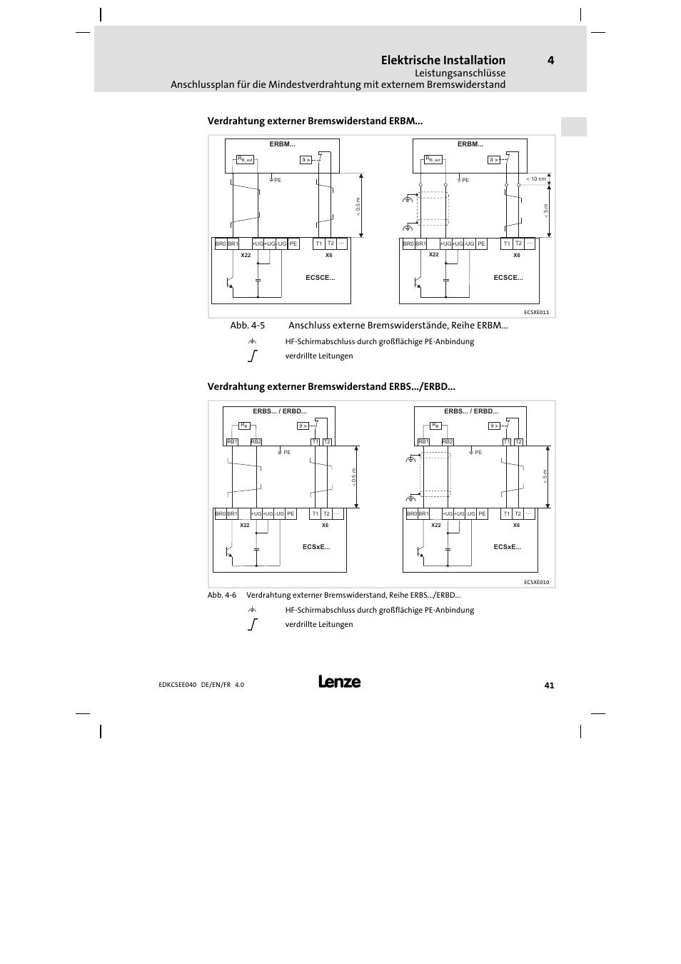 Elektrische installation, Verdrahtung externer bremswiderstand erbm ...