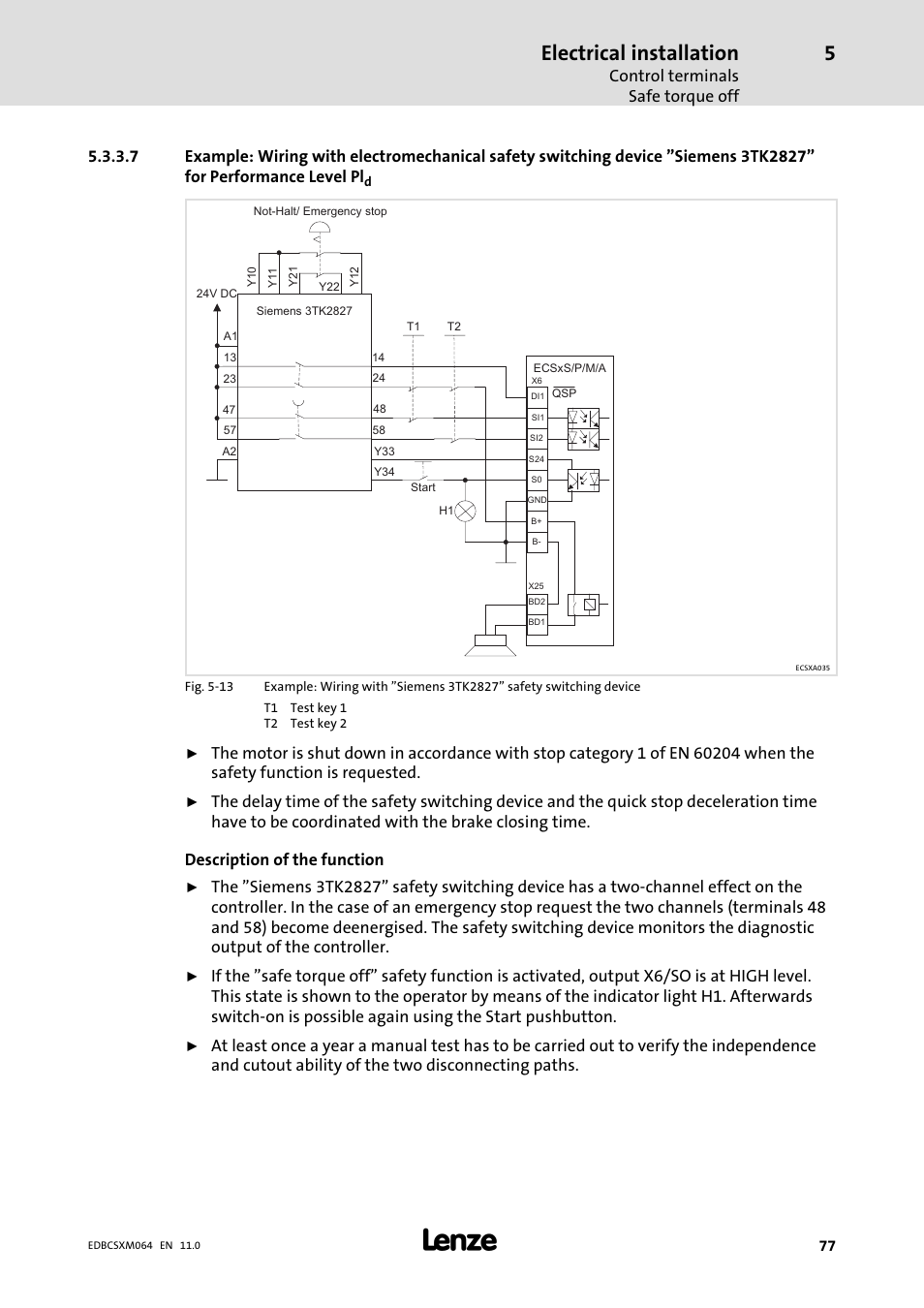 Electrical Installation Control Terminals Safe Torque Off Lenze Wiring Diagrams Ecscmxxx User Manual Page 77 375
