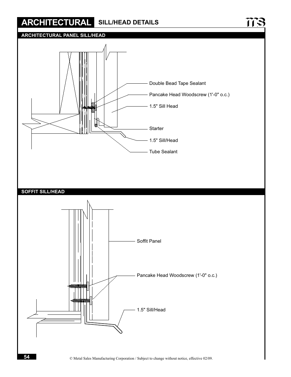 Architectural, Sill/head details | Metal Sales Soffit Panel User Manual |  Page 55